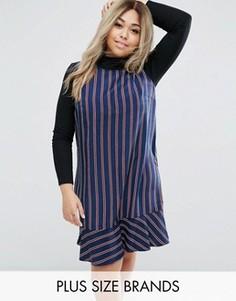 Цельнокройное платье в полоску с баской Lovedrobe - Темно-синий