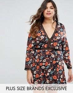 Чайное платье мини с цветочным принтом и отделкой Boohoo Plus - Мульти