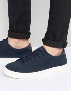 Темно-синие кроссовки из натуральной замши на шнуровке ASOS - Темно-синий