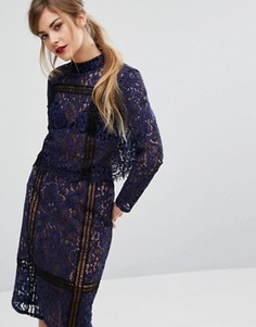 Кружевной кроп-топ из комплекта Fashion Union - Темно-синий