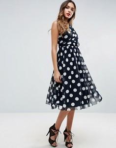 Сетчатое платье миди в горошек ASOS - Темно-синий