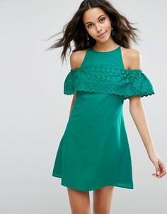 Сарафан с вышивкой ришелье ASOS - Зеленый