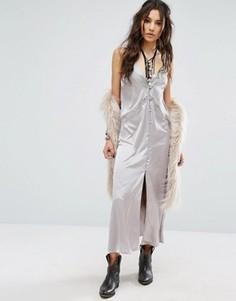 Платье-комбинация миди с кружевными вставками Glamorous - Серый