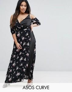 Платье макси с запахом спереди и вырезами на плечах ASOS CURVE - Мульти