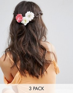 3 заколки для волос с цветами ASOS - Мульти