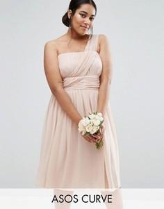Платье на одно плечо ASOS CURVE WEDDING - Розовый