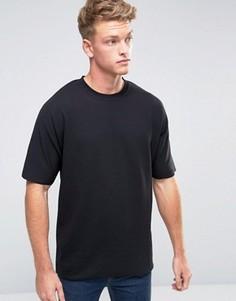 Oversize-футболка с необработанными краями Jack & Jones Core - Черный