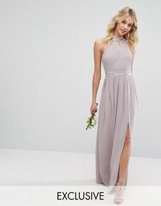 Платье макси с отделкой TFNC WEDDING - Серый