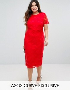 e832fc88d62 Кружевное платье-футляр миди с укороченным топом ASOS CURVE - Красный