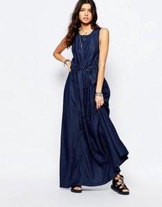 Джинсовое платье макси с завязкой на талии G-Star - Синий