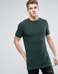 Длинная зеленая футболка с вафельной фактурой ASOS - Синий