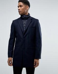 Шерстяное пальто со стеганой отделкой Celio - Темно-синий