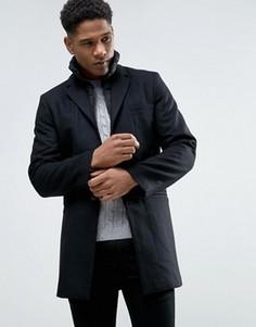 Шерстяное пальто со стеганой отделкой Celio - Черный