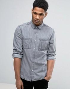 Узкая джинсовая рубашка с длинными рукавами Esprit - Серый