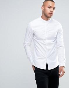 Оксфордская рубашка скинни с воротом на пуговице ASOS - Белый