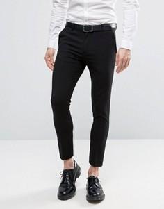 Черные укороченные строгие брюки скинни ASOS - Черный