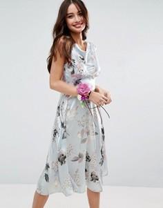 Атласное платье миди в стиле 40-х с розами ASOS WEDDING - Мульти