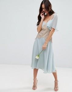 Платье миди с контрастной кружевной вставкой ASOS WEDDING - Синий