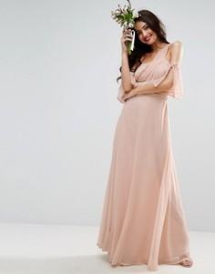 Платье макси на одно плечо ASOS WEDDING - Розовый
