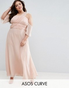 Платье макси на одно плечо ASOS CURVE WEDDING - Розовый