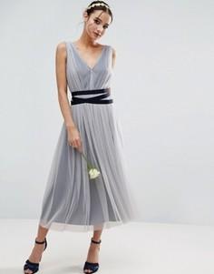 Сетчатое платье миди с лентой ASOS WEDDING - Синий