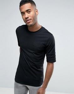 Длинная футболка с нашивкой на груди Jack & Jones Core - Черный