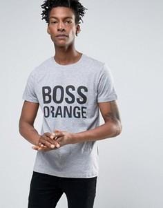 Серая меланжевая футболка с логотипом BOSS Orange by Hugo Boss - Серый