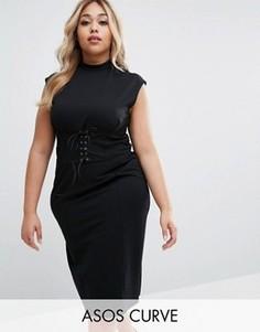 Платье миди с корсетной отделкой на поясе ASOS CURVE - Черный