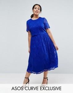 Кружевное приталенное платье миди ASOS CURVE - Синий