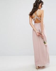 Платье макси с лямками и отделкой TFNC WEDDING - Розовый