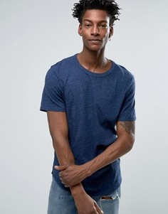 Меланжевая футболка с закругленным низом Selected Homme - Синий