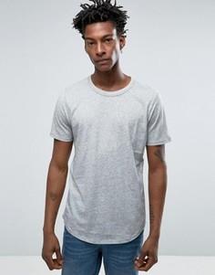 Меланжевая футболка с закругленным низом Selected Homme - Серый