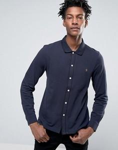 Темно-синяя рубашка слим из пике с кантом Farah Jenkins - Темно-синий
