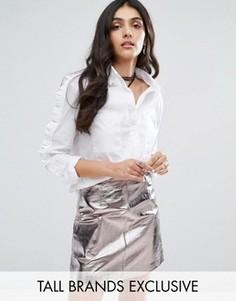Рубашка с оборками на рукавах Glamorous Tall - Белый