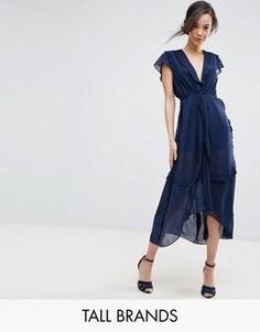 Платье миди с рукавами клеш и оборками True Decadence Tall - Темно-синий