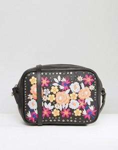Кожаная сумка через плечо с цветочной вышивкой ASOS - Мульти