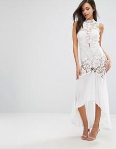 Платье макси с полупрозрачным кружевом Love Triangle - Белый