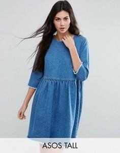 Синее свободное платье из выбеленного денима ASOS TALL - Синий