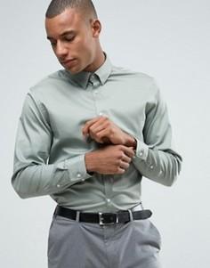 Приталенная рубашка с воротником на скрытых пуговицах Selected Homme - Зеленый