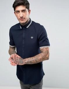 Темно-синяя рубашка с короткими рукавами и двойным кантом Fred Perry - Темно-синий