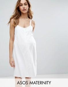 Свободное платье на пуговицах из трикотажа понте ASOS Maternity - Кремовый