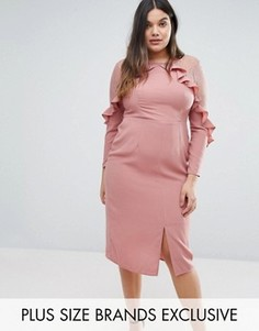 Платье с оборками на кокетке и кружевными вставками Truly You - Розовый