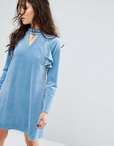 Платье с длинными рукавами и высокой горловиной Glamorous - Синий