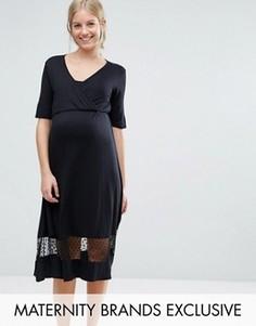 Чайное платье с сетчатой вставкой Bluebelle Maternity - Черный