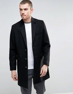 Черное полушерстяное пальто ASOS - Черный