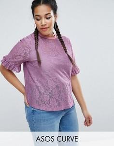 Кружевная футболка с рюшами на рукавах и полосатой отделкой ASOS CURVE - Фиолетовый