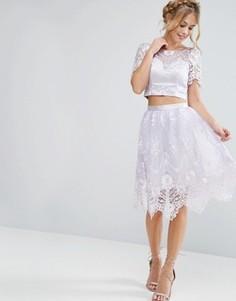 Кружевная юбка миди с фигурной отделкой Chi Chi London - Фиолетовый