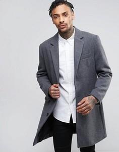 Светло-серое пальто с добавлением шерсти ASOS - Серый