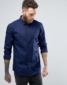 Зауженная рубашка со скрытой пуговичной планкой Only & Sons - Темно-синий