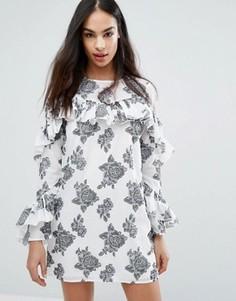 Платье с розами и оборкой Missguided - Белый